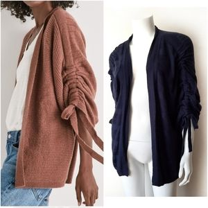 Lucky Cinched Sleeve Navy Blue Cardigan Sweater